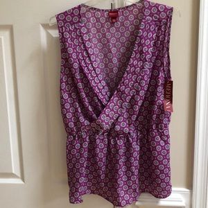 Classy Purple VNeck Pleated Sleeveless Blouse
